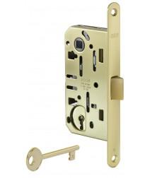 Межкомнатный замок AGB Mediana Evolution, под кабинетный ключ (матовая латунь)