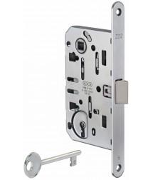 Межкомнатный замок AGB Mediana Evolution, под кабинетный ключ (матовый хром)